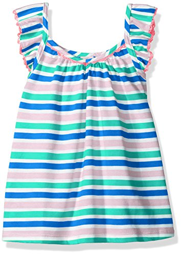 Scout + Ro Big Girls' Striped Top with Crochet Trim, Strong Blue, (Crochet Trim Cami)
