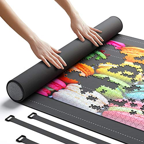 "Newverest Jigsaw Puzzle Mat Roll Up, Saver Pad 46"" x 26"" Portable Up to 1500 pieces with Non-Slip Rubber Bottom and Smooth Polyester Top + Storage Bag, Foam Rolling Tube, 3 Hook & Loop Fastener Straps"