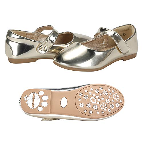 PANDANINJIA Girls Susie Gold Party Wedding Ballerina Ballet Mary Janes Flats Dress Shoes (Toddler/Little -