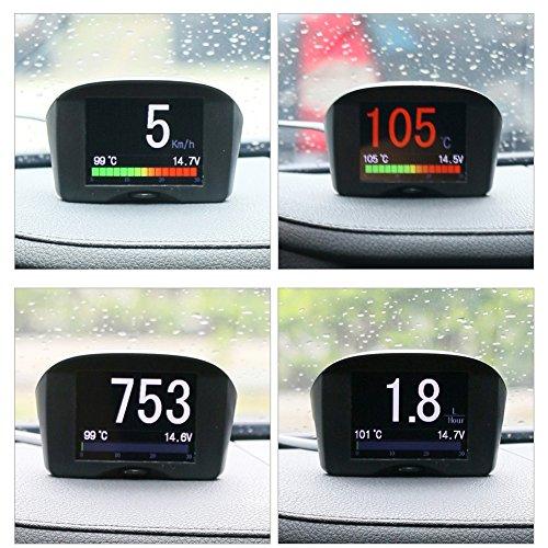 gital KMH/MPH Car HUD Speedometer & Overspeed Alarm Auto Voltage Meter Water Temperature Gauge with LCD Display for 12V Most Petrol & Diesel (Digital Engine Monitor)