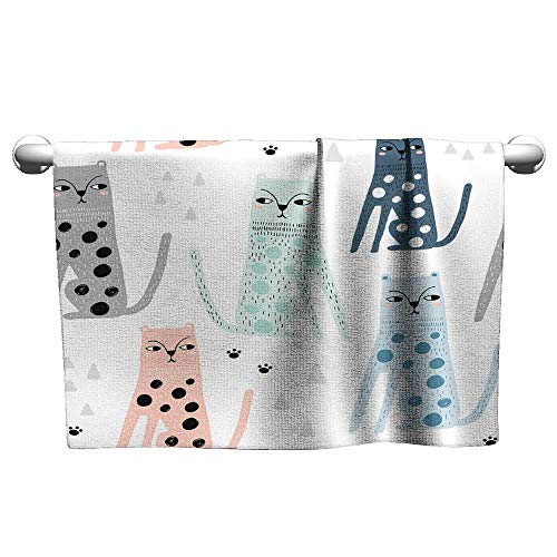 Tankcsard Bath Towel Seamless Childish Pattern with Funny Leopards Creative Scandinavian Kids Texture for Fabric Wrapping Textile Wallpaper Apparel Vector Illustration,Hooded Beach Towel for Girls