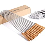 "CHICHIC 17"" Kabob Skewers, Stainless Steel BBQ Skewers Set, Flat Barbecue Skewers, Reusable BBQ Sticks, Metal Grilling Skewers for Shish Vegetables and More, Wooden Handle, 12 Packs & Storage Box"
