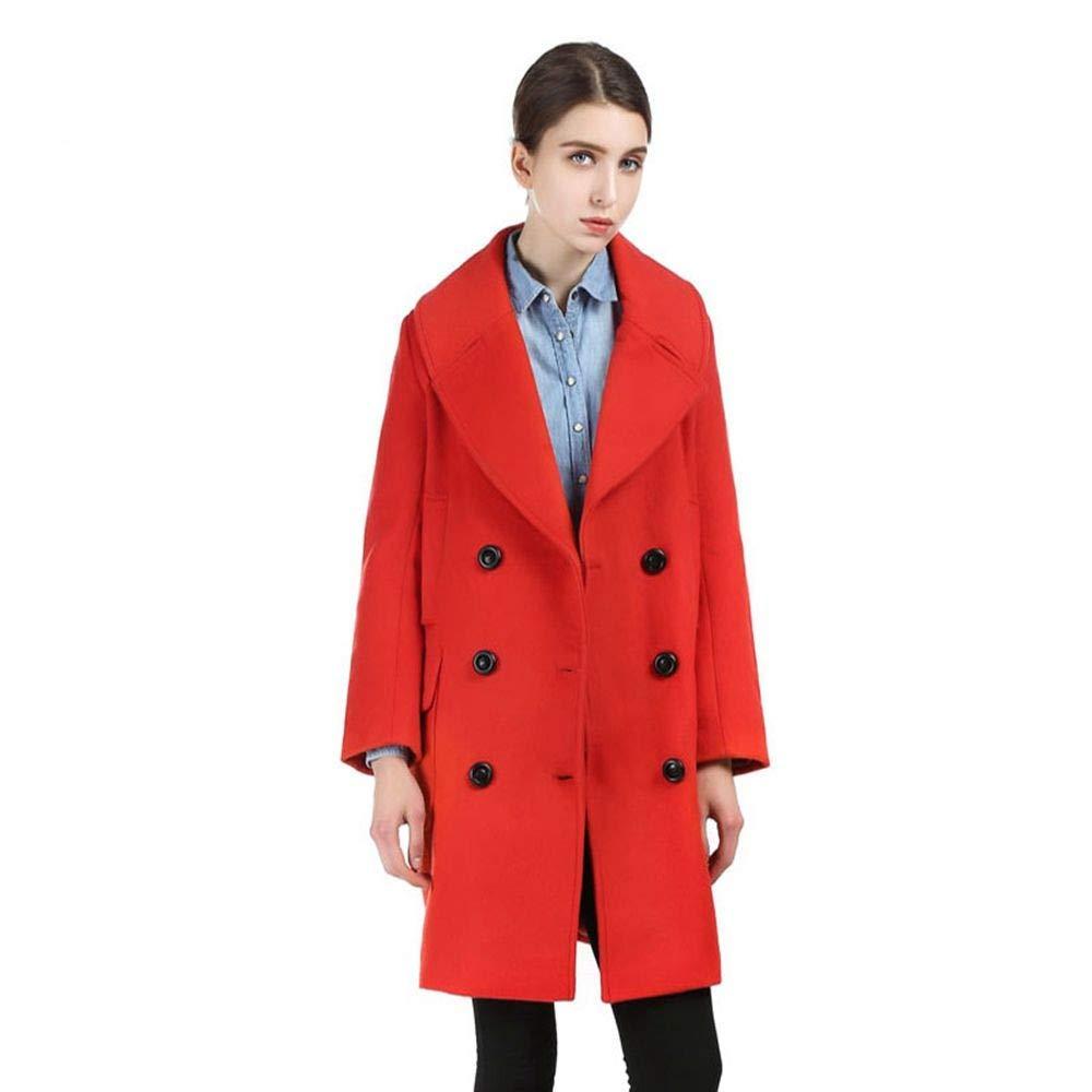 QZHE Frauen Trenchcoat Winter Frauen rot Coat Zweireiher Front Pocket Jacket Langarm-Lose Beiläufige Mantel