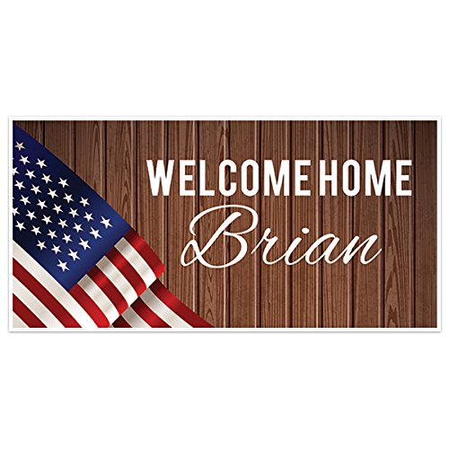 Flag with Wooden Welcome Home Military Personalized Banner Party Backdrop