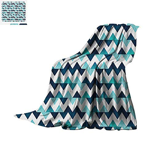 "Blue and White Throw Blanket Horizontal Zigzag Borders with Striped Design and Modern Look Warm Microfiber All Season Blanket for Bed or Couch 80""x60"" Dark Blue Pale Blue White"