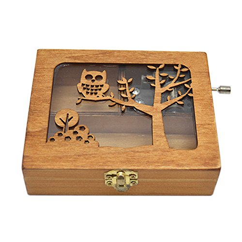 (Anlydia Vintage Wooden Animal Pattern Hand Cranked Jewelry Music Box Trinket Box)
