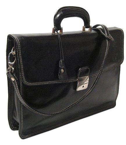 Floto Luggage Milano Brief Attache, Black, Medium by Floto