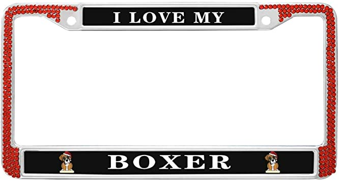 I Love My Boxer Dog Chrome Metal License Plate Frame Tag Holder