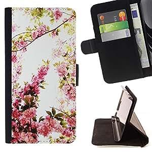 For Samsung Galaxy E5 E500 Case , Primavera Manzano flor rosa cereza Naturaleza- la tarjeta de Crédito Slots PU Funda de cuero Monedero caso cubierta de piel