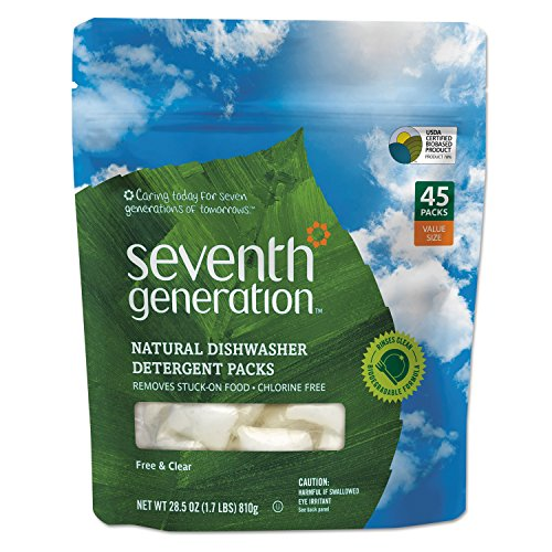 Seventh Generation 22897CT Natural Dishwasher Detergent Concentrated Packs, Free & Clear, 45 Per Pack (Case of 8 Packs) by Seventh Generation