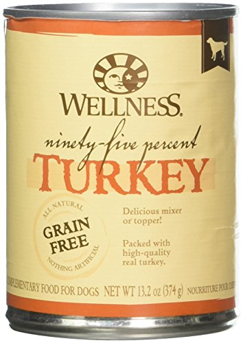Wellness 95% Turkey Natural Wet Grain Free Canned Dog Food, 13.2-Ounce Can (Pack of 12) - All Natural Canned Dog Food