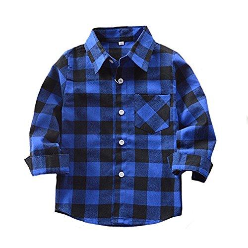 Flannel Kids Sleeve Long (Happy GoGo Kid Girl Boy Long Sleeve Button Down Plaid Flannel Shirt (Blue-Black,4T))