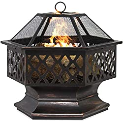Best Choice Products 24in Hex-Shaped Steel Fire Pit Decoration Accent for Patio, Backyard, Poolside w/Flame-Retardant Lid - Black
