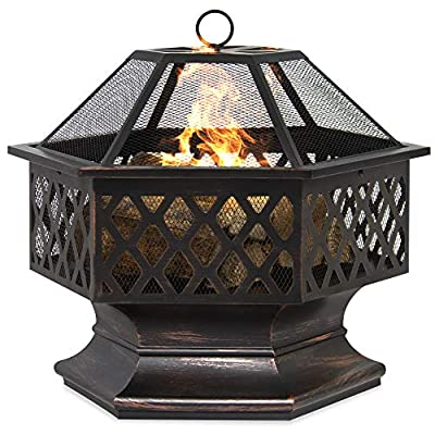 Best Choice Products Hex-Shaped 24in Steel Fire Pit for Garden, Backyard, Poolside w/Flame-Retardant Mesh Lid - RUSTIC DECORATION: Hexagonal steel fire pit sports a distressed bronze finish and combines a tight steel mesh with decorative lattice for a unique addition to your outdoor decor WOOD FIRE PIT: Steel risers at the base of the pit elevate the logs and promote airflow as you build a natural wood fire VERSATILE: A simple, but effective way to bring comfortable warmth to your patio, landing, porch, or poolside. (NOTE: Avoid using this fire pit on or near any wooden structures) - patio, outdoor-decor, fire-pits-outdoor-fireplaces - 51p3lHXlFpL. SS400  -