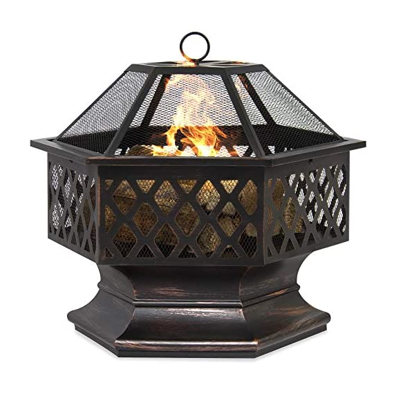 Best Choice Products 24in Hex-Shaped Steel Fire Pit for Garden, Backyard, Poolside w/Flame-Retardant Mesh Lid - RUSTIC DECORATION: Hexagonal steel fire pit sports a distressed bronze finish and combines a tight steel mesh with decorative lattice for a unique addition to your outdoor decor WOOD FIRE PIT: Steel risers at the base of the pit elevate the logs and promote airflow as you build a natural wood fire VERSATILE: A simple, but effective way to bring comfortable warmth to your patio, landing, porch, or poolside. (NOTE: Avoid using this fire pit on or near any wooden structures) - patio, outdoor-decor, fire-pits-outdoor-fireplaces - 51p3lHXlFpL. SS570  -