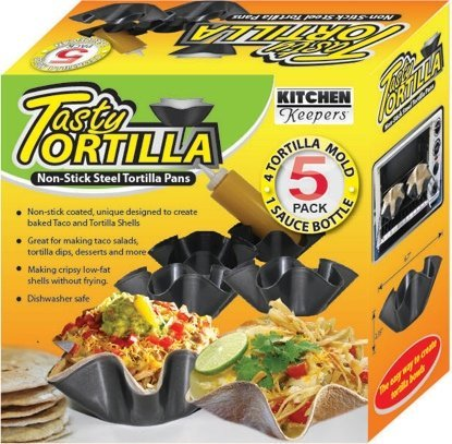 Tasty Tortilla Non Stick Steel Tortilla Pans, 4 Tortilla Mold and 1 Sauce Bottle 8 oz (Tortilla Shell Pans compare prices)