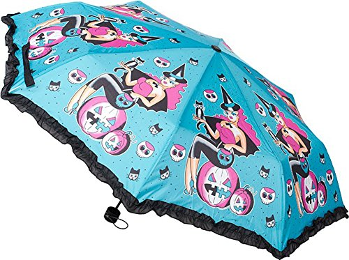 Witchy Lady Halloween Pinup Umbrella - Extends to 21
