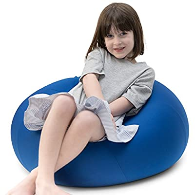 """Dash Sensations Blue Bean Bag Chair for Kids with Removable Machine Washable Cover - Tactile and Sensory for Sitting, Lounging and Playing - 18"""" x 15"""" (60"""" Circumference) – by"""