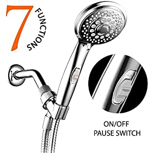 HotelSpa 7-Setting AquaCare Series Spiral Handheld Shower Head with Patented ON / OFF Pause Switch and 5-7 foot Stretchable Stainless Steel Hose (Premium Chrome)