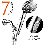 HotelSpa® AquaCare Series Ultra-Luxury 7-Setting Spiral Handheld Shower-Head w/ Patented On/Off Pause Switch by Top Brand Manufacturer