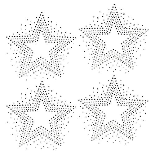 Set of 4 Stars Clear Rhinestone Iron on Hotfix Transfer bling ()