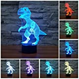 Etzon Technologies Dinosaur Night Light 7 Color Changing Led Nightlight Animal Dinosaur Lamp Optical Illusions 3d Lamp Colorful Night lights for Adults Children Kids Boys