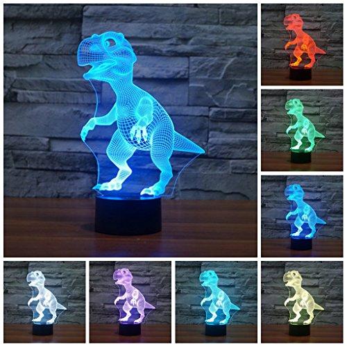 Etzon Technologies Dinosaur Night Light 7 Color Changing Led Nightlight Animal Dinosaur Lamp Optical Illusions 3d Lamp Colorful Night lights for Adults Children Kids Boys by Etzon Technologies