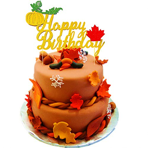 JeVenis Glitter Pumpkin Cake Topper Maple Happy Birthday Cake Decoration for Fall Baby Shower Thanksgiving Party Favors Decorations]()