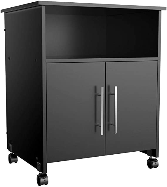 Yaheetech Mobile File Cabinets with Open Storage Shelves Wood Filing Cabinet with Wheels for Home Office