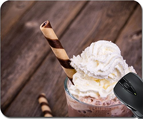 MSD Natural Rubber Mouse Pad Mouse Pads/Mat design 22928064 Hot chocolate with whipped cream topping in glass rolled wafer effect processing (Frothy Hot Chocolate)