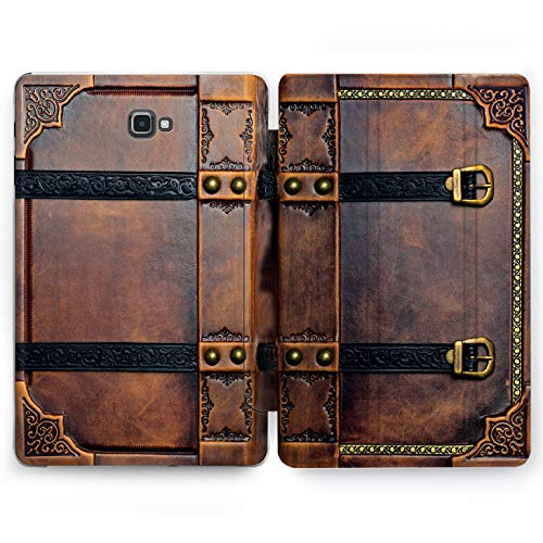 Wonder Wild Vintage Book Samsung Galaxy Tab S4 S2 S3 A E Smart Stand Case 2015 2016 2017 2018 Tablet Cover 8 9.6 9.7 10 10.1 10.5 Inch Clear Design Retro Leather Antique Old Tracery Rivets Stamping