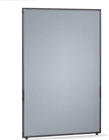 Dividir – fieltro, marco gris pizarra – gris plata, H x L 1950 x 1300 mm – Dispositivo de