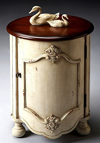 Hand-Painted Drum Table in Distressed Vanilla & Cherry Finish 115352 - Distressed Cherry Finished Top
