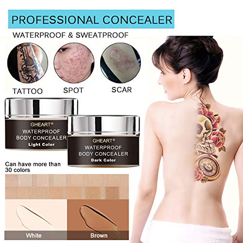 Body Concealer, Tattoo Concealer Waterproof Cover Up for Blemish, Birthmarks, Vitiligo, Scar, Professional Camouflage Makeup Cream, Set of 30ml2, Including Brush and Bottle for Mixing (Best Tattoo Cover Up Concealer)