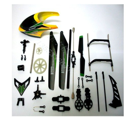 WL Toys V912 Upper Replacement Crash Parts Set Main Blades Propellers Balance Bar Connect Buckles Head ()