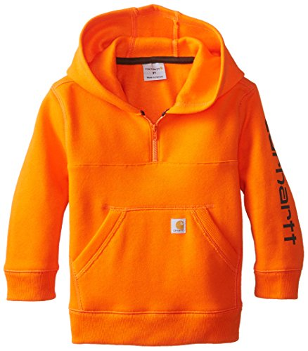 - Carhartt Little Boys' Logo Fleece Quarter Zip Sweatshirt, Blaze Orange, 4T