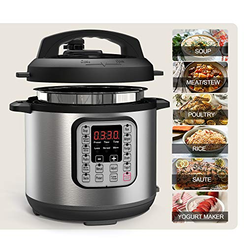 Acare 6 Qt 7-in-1 Programmable Pressure Cooker,6 Quart/6L Stainless Steel Multi-Use Cooker,1000W,Slow Cooker,Rice Cooker,Stew,Steamer,Sauté,Yogurt Maker and Warmer (Slow Cooker 6l)