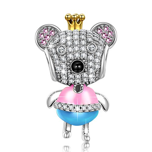 "NinaQueen ""Princess Bear"" 925 Sterling Silver Enamel Charms, Cute Animal Charms Ideal Gift for Women and Girls, gifts for mom"