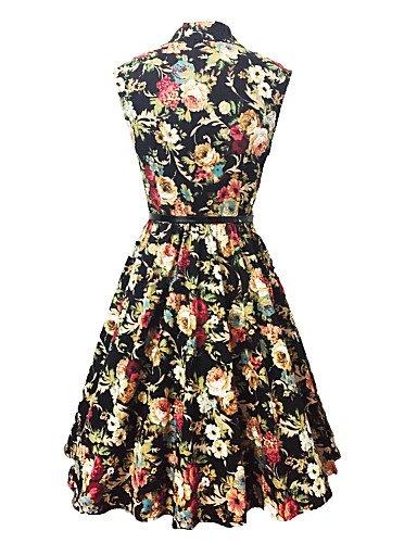 PU&PU Robe Aux femmes Swing Vintage,Imprimé Col en V Mi-long Coton , black-m , black-m