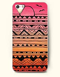 OOFIT Aztec Indian Chevron Zigzag Pattern Hard Case for Apple iPhone 4 4S Popular Mayan Aztec Andes Tribal Pattern Of Sunrise
