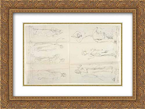John Gibson - 40x28 Gold Ornate Frame and Double Matted Museum Art Print - Sketches of Seven Statues: The Four Seasons, Venus and Adonis, A Beggar, and The Nymph Salmace