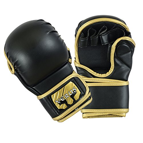 Verus Safety Sparring Heavy Bag MMA Gloves UFC Cage Fighting Grappling Mitts (Gold, Small)