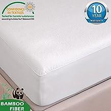 "HYSENM Organic Bamboo Fiber Mattress Protector Waterproof Hypoallergenic Anti-mite 10 Year Noiseless Sheet, beige, 79""X75""/79"""