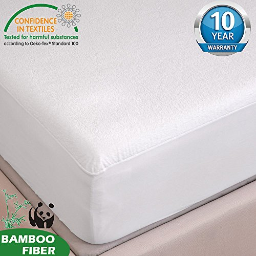 c 100% Waterproof Breathable Anti-bacteria Silent Bamboo Mattress Protector For Baby Children Bed With 10 Year Warranty, beige, 28