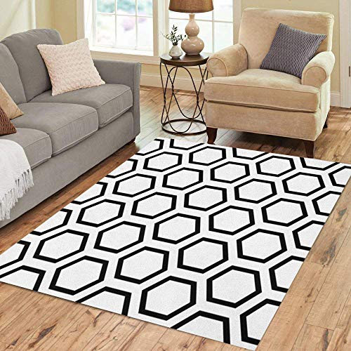 Semtomn Area Rug 2' X 3' Hexagon Geometric Pattern Geometry Abstract Black Classic Elegant Endless Home Decor Collection Floor Rugs Carpet for Living Room Bedroom Dining Room