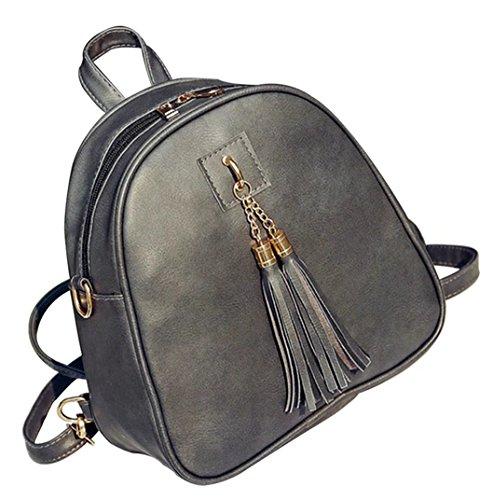 Basilion Classic Retro Ladies Handbag Tassel Backpack Wild Bag