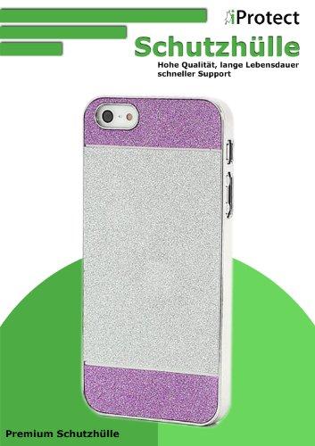 iProtect Schutzhülle iPhone 5 / 5S Case Glitzer zweifarbig rosa silber