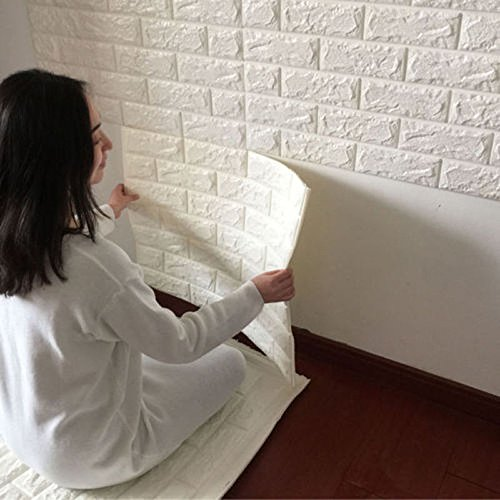 DODOING 10 Piece Peel and Stick 3D Wall Panels for TV Walls, Sofa Background Wall Decor, White Brick Wallpaper 60cmx30cm (Textured Wallpaper White)