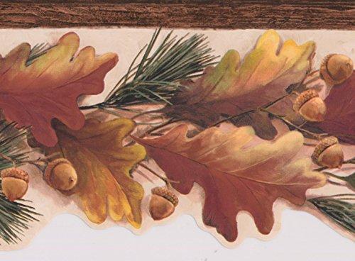 (Yellow Brown Oak Leaves Acorns on Vine Nature Wallpaper Border Retro Design, Roll 15' x 6.5'')