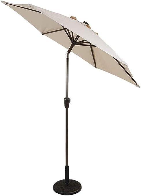 JNWEIYU Sombrilla Jardin Exterior Grande 7 pies Sombrillas Patio de Acero con Recubrimiento en Polvo Paraguas - Crank y pulsador de inclinación del Paraguas por Aire (Size : Off-White): Amazon.es: Hogar